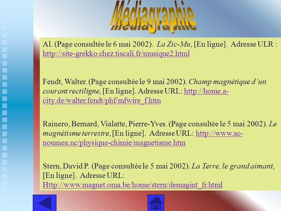 Médiagraphie Al. (Page consultée le 6 mai 2002). La Zic-Mu, [En ligne]. Adresse ULR : http://site-grekko.chez.tiscali.fr/musique2.html.